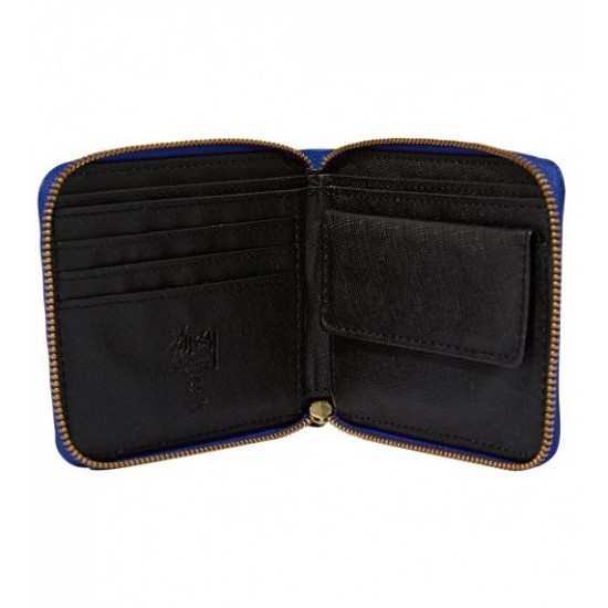 Classic Bead Zip Wallet Blue