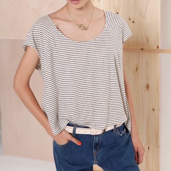 Kresala Striped T-Shirt Ecru Navy
