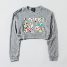 Jamrock No 4 Cropped Crew Heather Grey