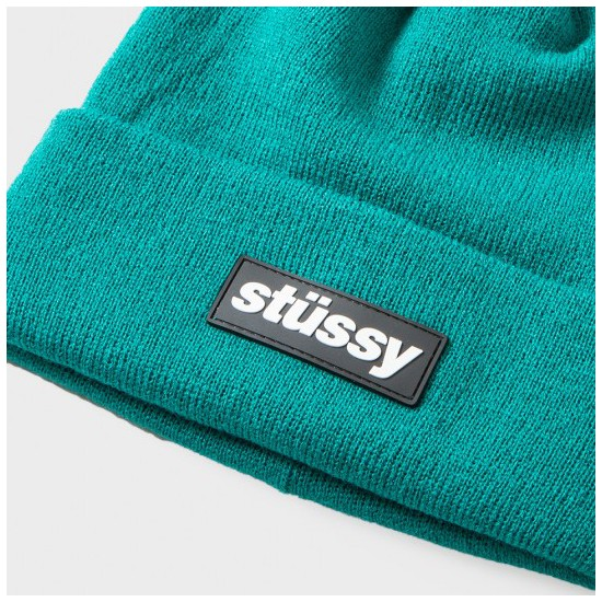 Stüssy Rubber Patch Beanie Teal