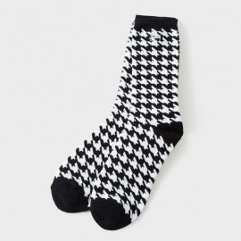 Houndstooth Socks White