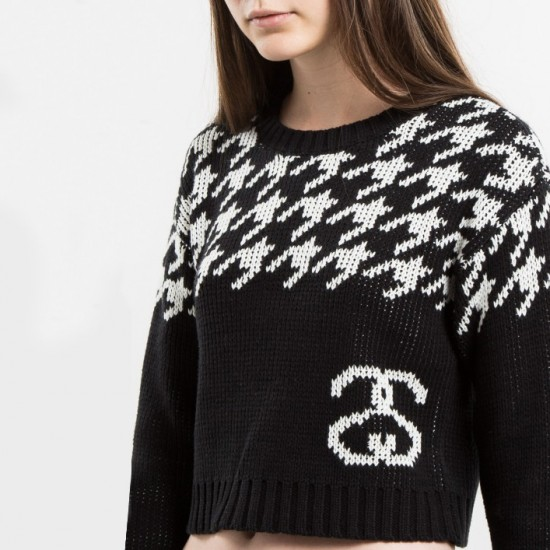 Houndstooth Jumper Sweater Black