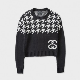 Houndstooth Jumper Sweater Black