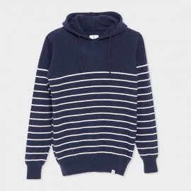 Hooded Basque Knit Sweater Navy Ecru