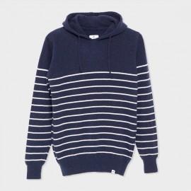 Hooded Basque Knit Sweater Navy Ecru