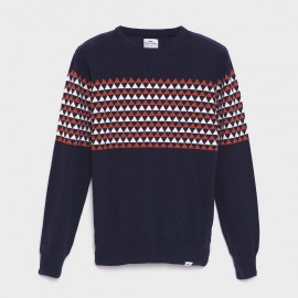 Fisher Lambswool Knit Sweater Navy