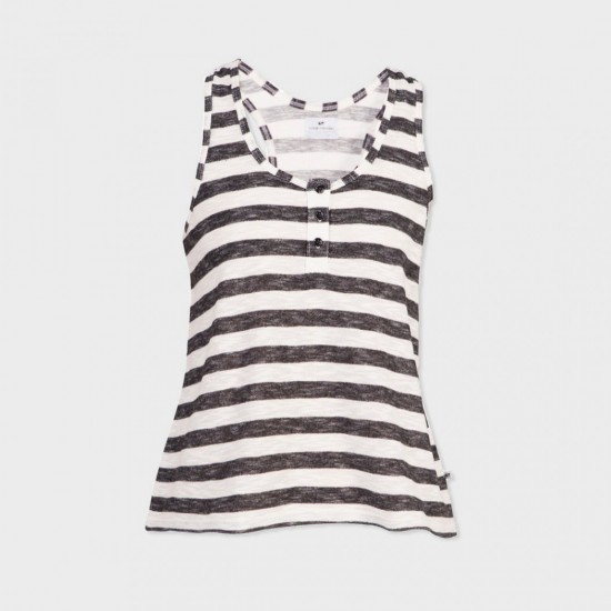 Sless Joa Striped Tee Black Ecru