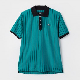 Striped Tennis Polo Teal