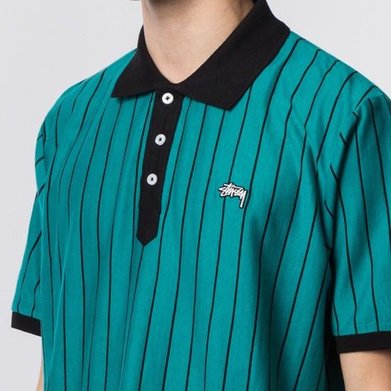 Striped Tennis Polo Teal