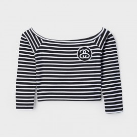 SS Stripe Crop top Black