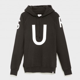 Con La U Hooded Printed Sweat Black