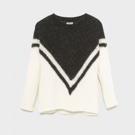 Zapi Fleece Knit Sweater Ecru-Black