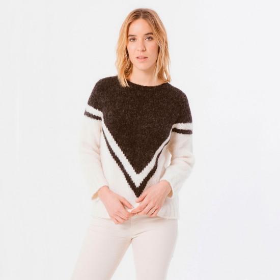 Zapi Fleece Knit Sweater Ecru-Black