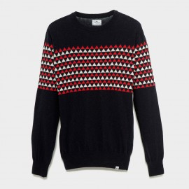 Fisher Lambswool Knit Sweater Navy Red