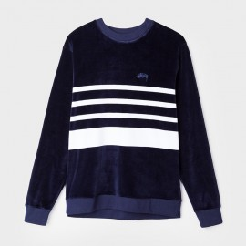 Sudadera Velour Stripe Navy