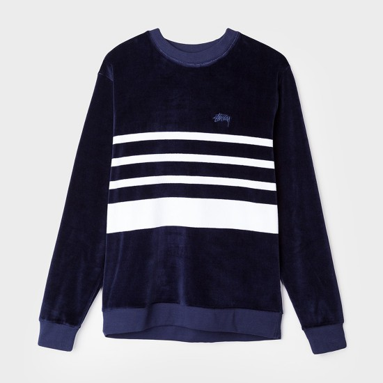 Velour Stripe Crew Navy