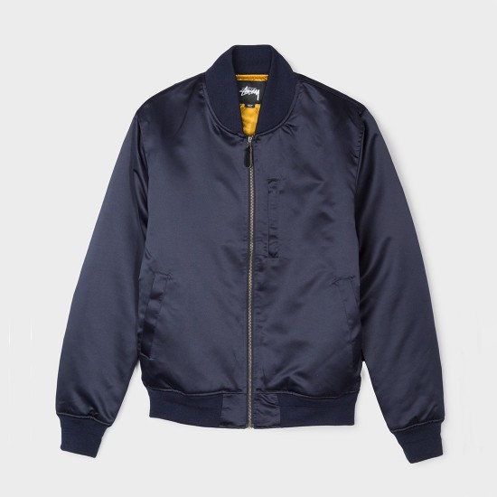 Emory Satin Bomber Jacket Navy