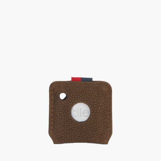 Key Chain Tile Brown Pebbled Nubuck