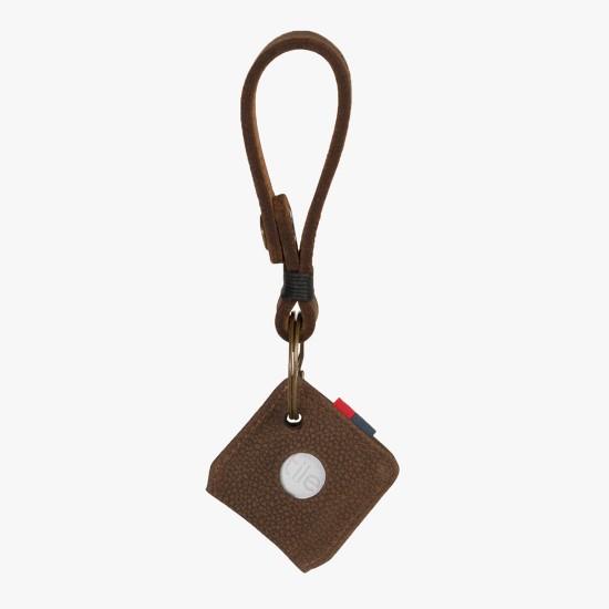 Llavero de cuero Tile Brown Pebbled Nubuck