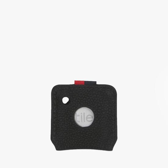Key Chain Tile Black Pebbled Leather