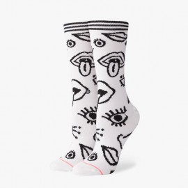 Eye Opener Crew Socks White