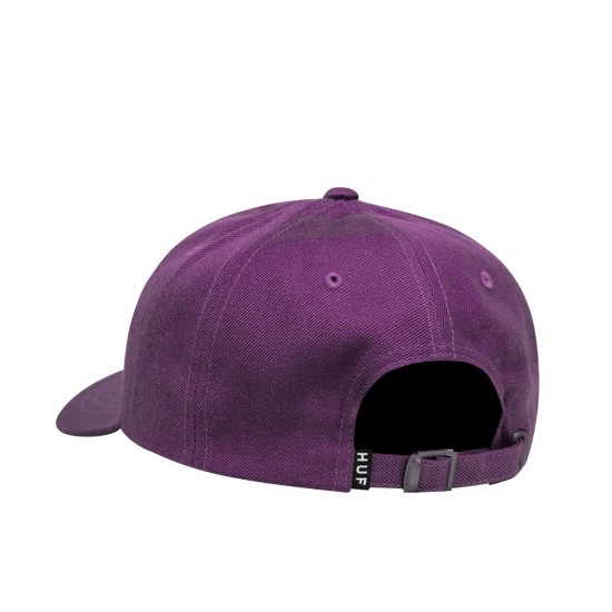 Huf Script Curved Visor 6 Panel Hat Purple Velvet