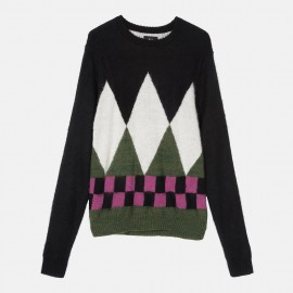Diamond Check Mohair Sweater Black